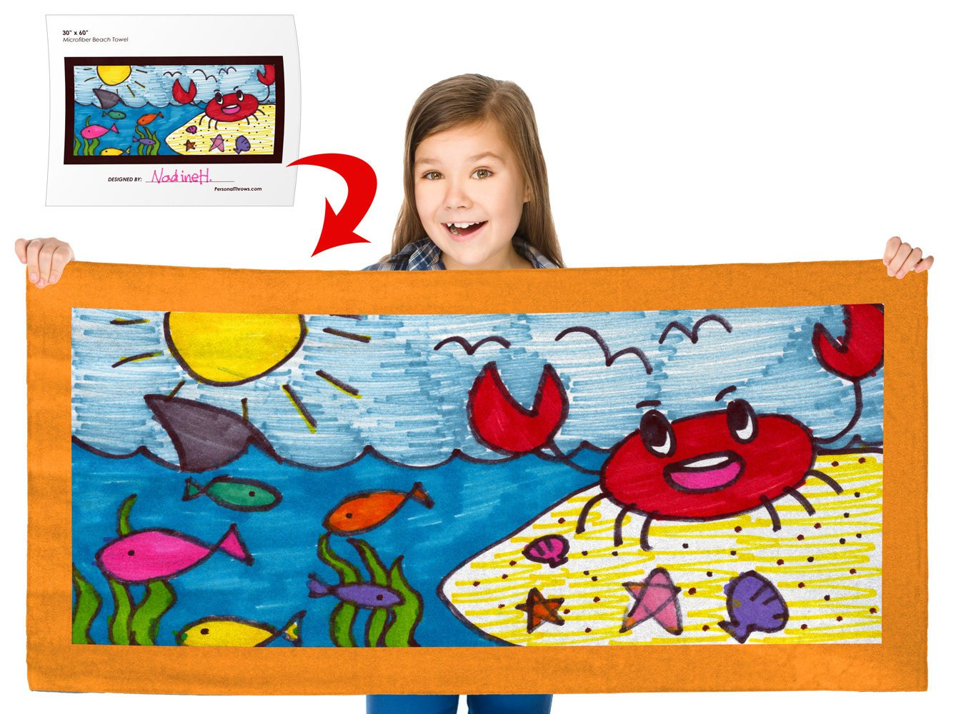 Turn Your Child's Drawing into a 30″ x 60″ Beach Towel