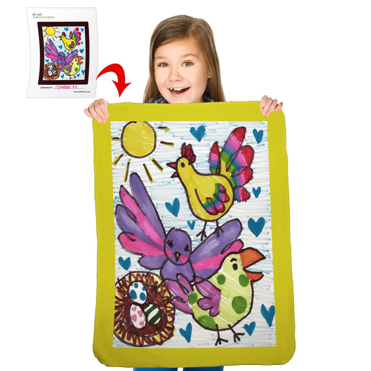 "Turn Your Child's Drawing into a 30"" x 40"" Polar Fleece Mini Blanket"