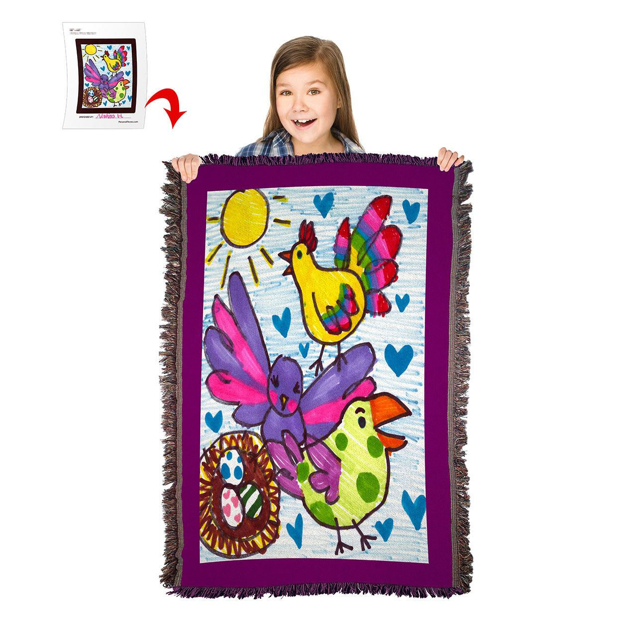 Turn Your Child's Drawing into a 54″ x 38″ HD Woven Throw Blanket