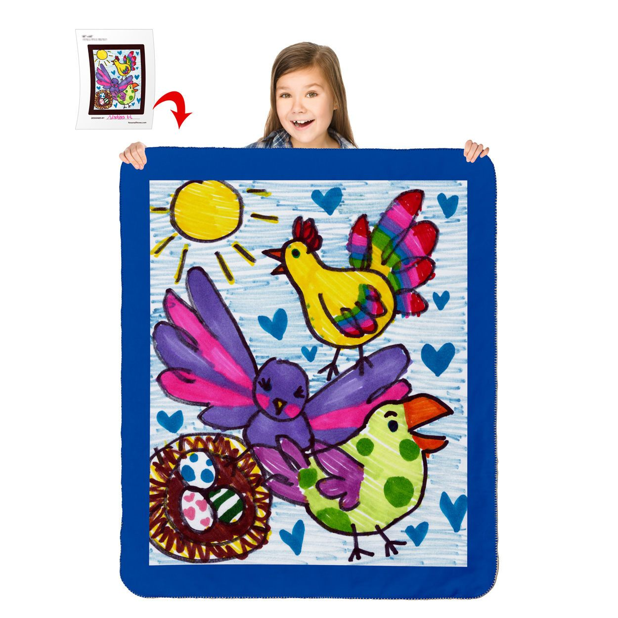 Turn Your Child's Drawing into a 60″ x 50″ Heavy Weight Sherpa Throw Blanket