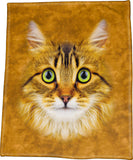 "Longhaired Tabby Cat Face 50"" x 60"" Polar Fleece Throw Blanket / Tapestry Wall Hanging CLEARANCE"