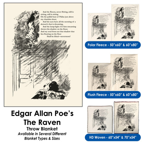 "Edgar Allan Poe's ""The Raven"" - Throw Blanket / Tapestry Wall Hanging"