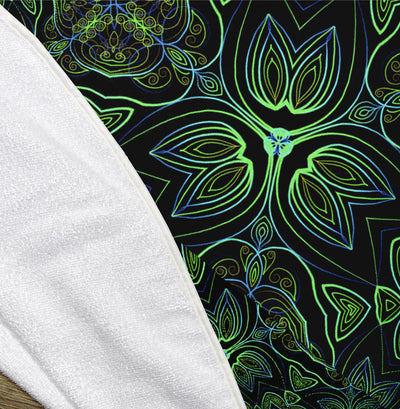 "Peacock Pattern 60"" Round Microfiber Beach Towel"