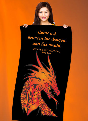 "Dragon Shakespeare Quote 30"" x 60"" Microfiber Beach Towel"