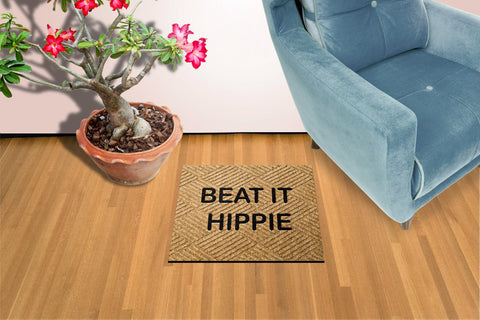 Beat it Hippie Welcome Mat