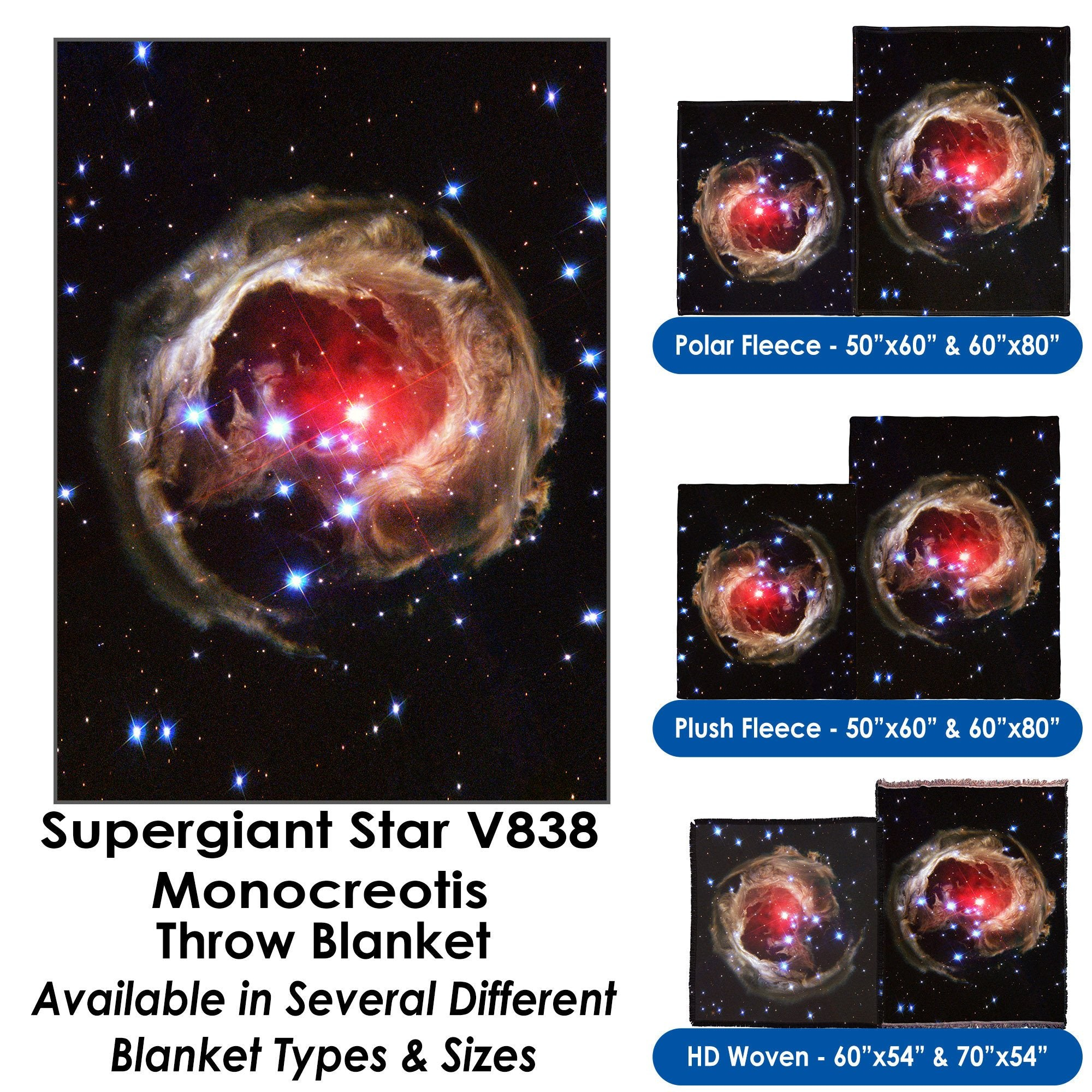 Supergiant Star V838 Monocerotis – Throw Blanket / Tapestry Wall Hanging
