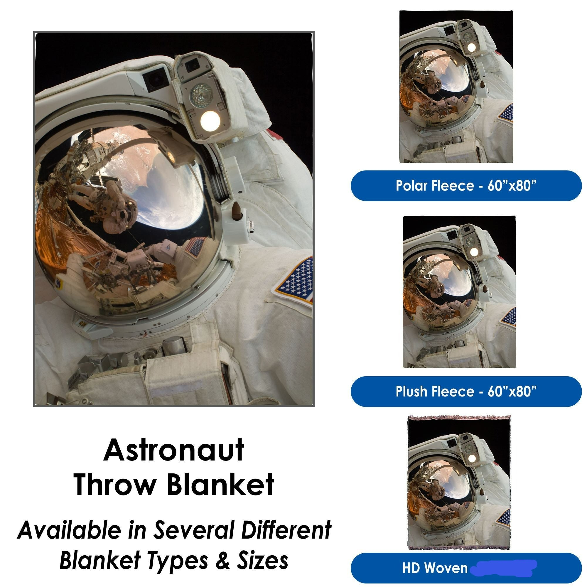 Astronaut Throw Blanket - Many sizes and fabrics available