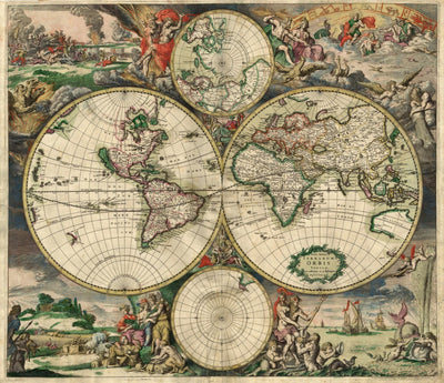 "Vintage World Map (24"" x 36"") - Canvas Wrap Print"