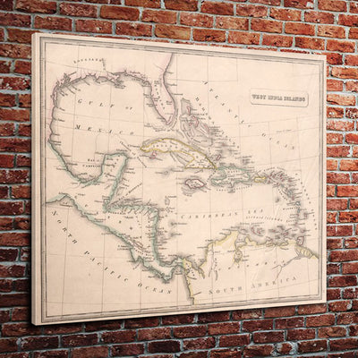 "Vintage Caribbean Map (24"" x 36"") - Canvas Wrap Print"