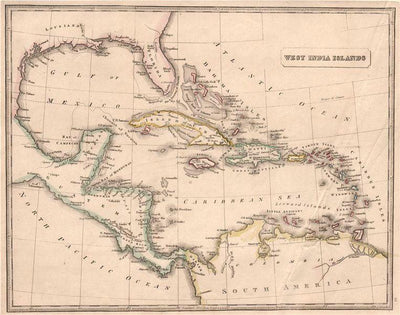 "Vintage Caribbean Map (11"" x 14"") - Canvas Wrap Print"