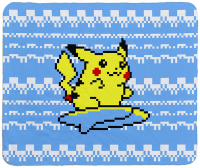 "Surfing Pikachu 60"" x 50"" Sherpa Throw Blanket"