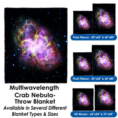 Multiwavelength Crab Nebula- - Throw Blanket / Tapestry Wall Hanging