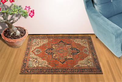 "Antique Rug Inspired Floor Mat 36"" x 60"" Doormat Welcome Floormat"