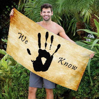 "Dark Brotherhood - We Know 30"" x 60"" Microfiber Beach Towel"