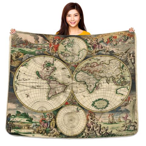"Vintage Map 60"" x 50"" Sherpa Throw Blanket"