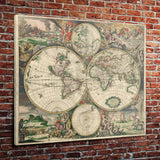 "Vintage World Map (30"" x 36"") -Rolled Canvas Print"