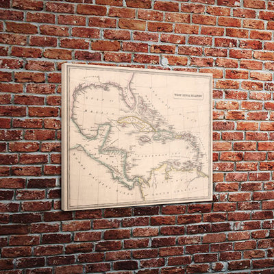 "Vintage Caribbean Map (18"" x 24"") - Canvas Wrap Print"