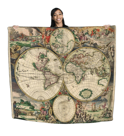 "Vintage World Map 50"" x 60"" Polar Fleece Throw Blanket / Tapestry Wall Hanging"