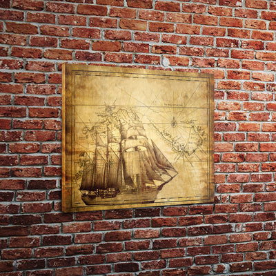 "Vintage Ship and Map (18"" x 24"") - Canvas Wrap Print"