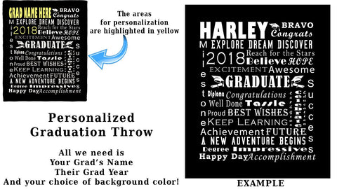 Personalized Graduation Throw Blanket / Tapestry Wall Hanging