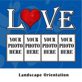 "LOVE- Personalized 60"" x 50"" 4 Photo Sherpa Collage Throw Blanket"