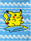 "Surfing Pikachu Coral Plush Throw Blanket / Tapestry Wall Hanging 60"" x 80"""