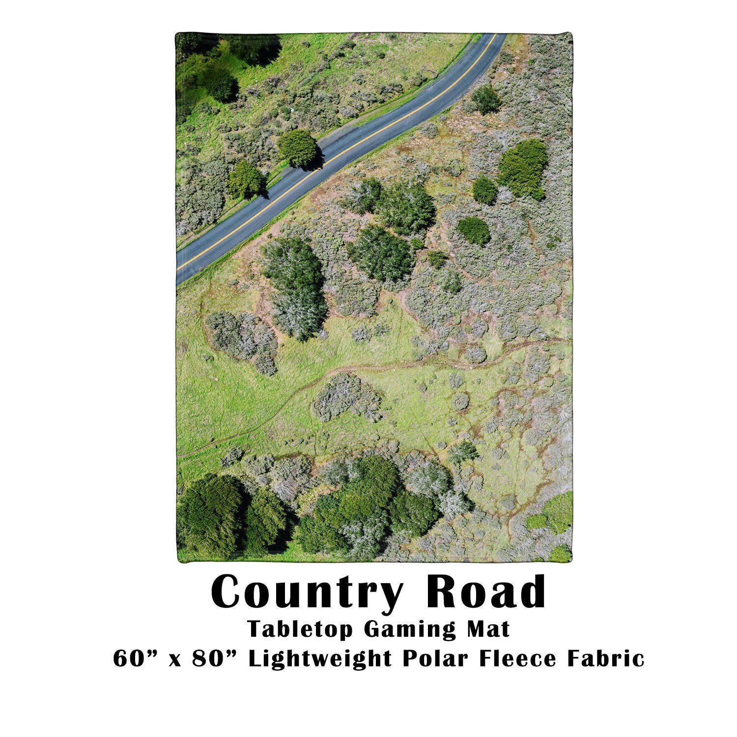"Country Road Tabletop Battle Gaming War Mat  60"" x 80"" Polar Fleece"