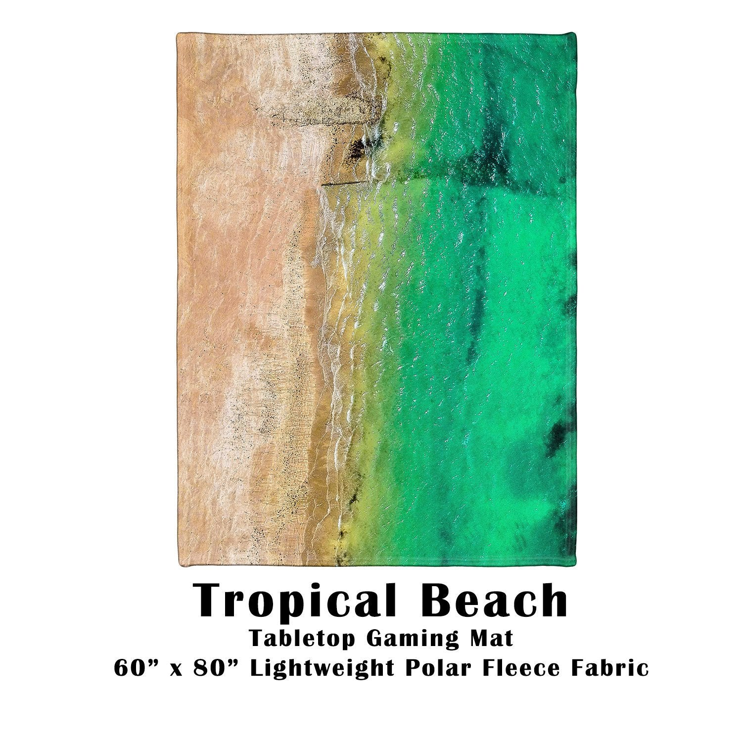"Tropical Beach Battle Gaming War Mat  60"" x 80"" Polar Fleece"
