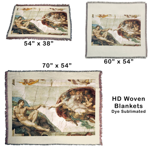 Sistine Chapel - Creation of Adam HD Woven Throw Blanket / Tapestry Wall Hanging
