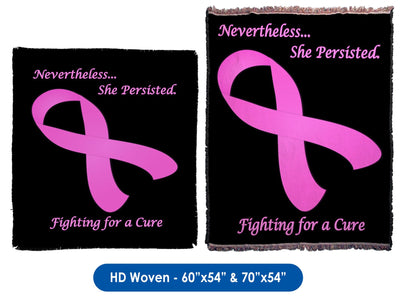 Nevertheless...She Persisted Breast Cancer Awareness- Throw Blanket / Tapestry Wall Hanging