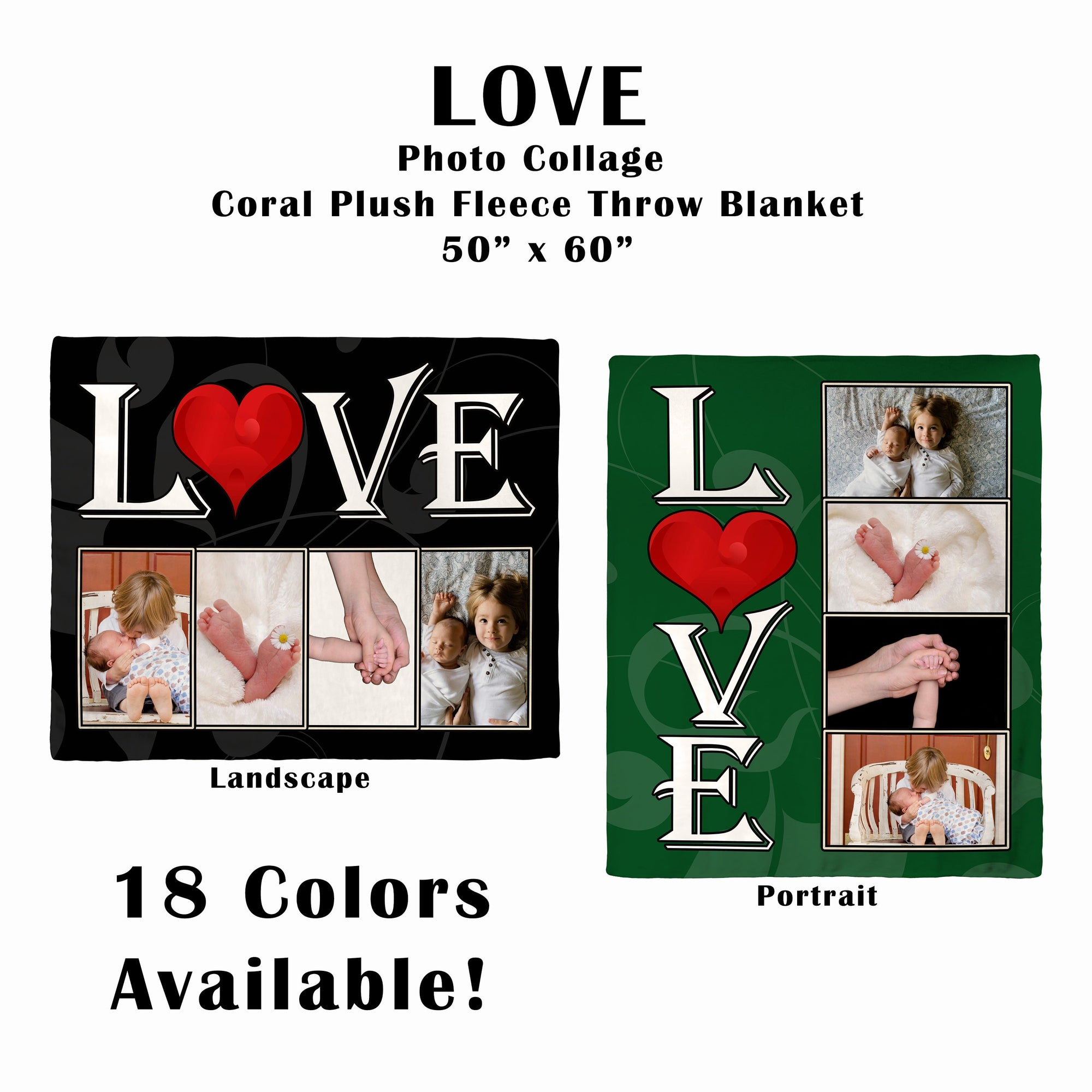 LOVE - Personalized  4 Image Coral Plush Fleece Collage Blanket
