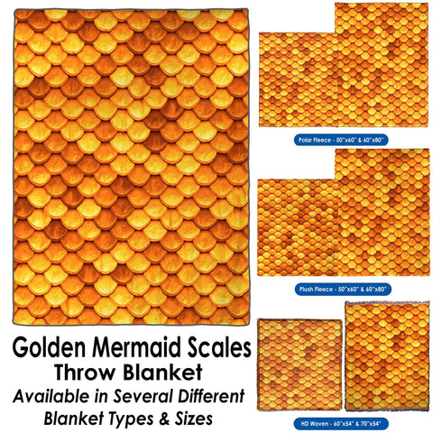 Golden Mermaid Scales - Throw Blanket / Tapestry Wall Hanging