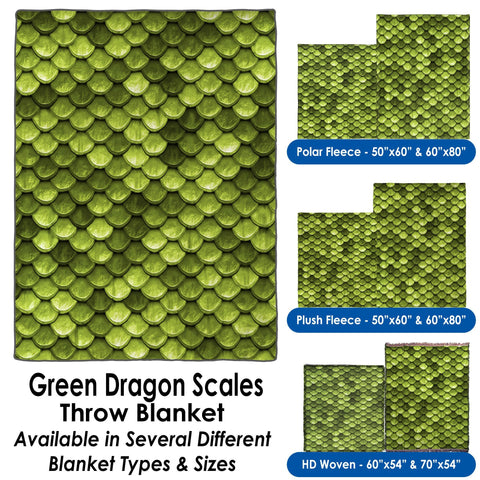 Green Dragon Scales - Throw Blanket / Tapestry Wall Hanging
