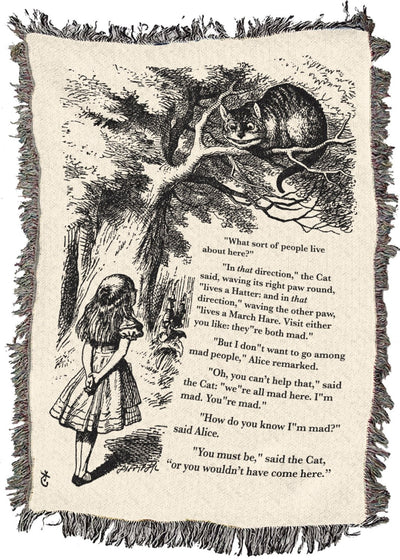 Alice and the Cheshire Cat - Throw Blanket / Tapestry Wall Hanging