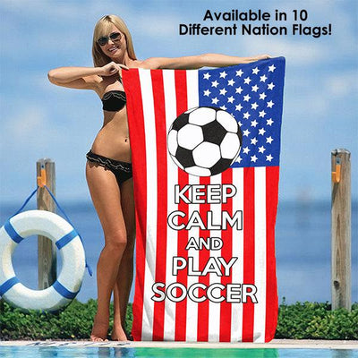 "Keep Calm and Play Soccer - Soccer Fanatics' Beach Towel 30"" x 60"""