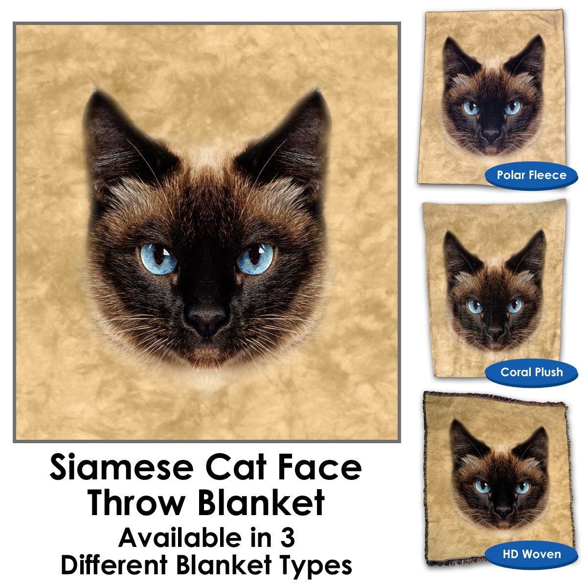 Siamese Cat Face Throw Blanket / Tapestry Wall Hanging