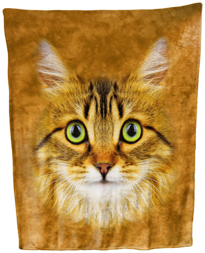 Longhaired Tabby Cat Face Throw Blanket / Tapestry Wall Hanging