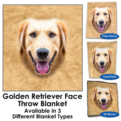 Golden Retriever Face Throw Blanket / Tapestry Wall Hanging