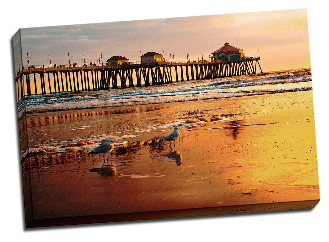 "Huntington Beach Pier 24"" x 36"" x 1.5"" Canvas Gallery Wrap Photo Print"