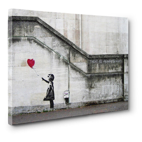 "Banksy, ""There Is Always Hope"" 12"" x 8"" x .75"" Canvas Gallery Wrap Print"