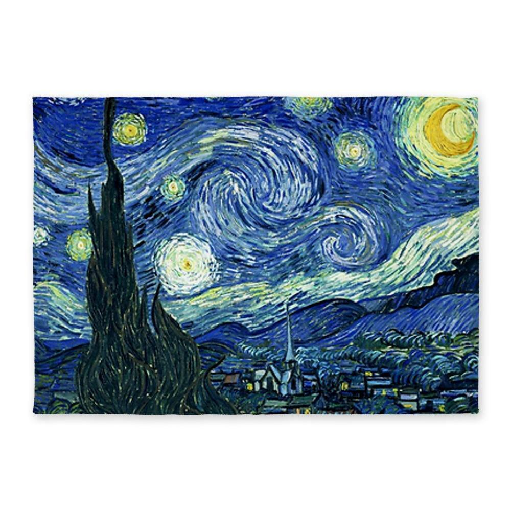 Van Gogh Starry Night 5' x7' Area Rug - Standard White