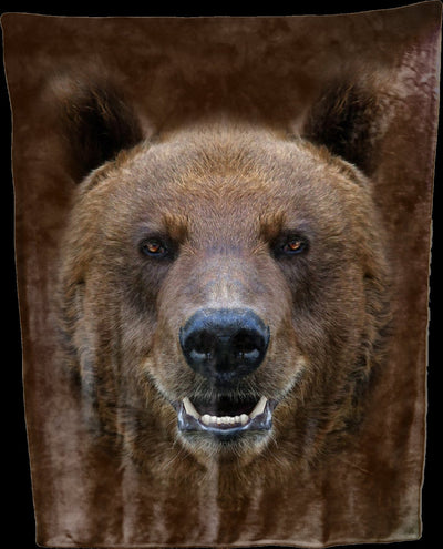 Brown Bear Face Throw Blanket / Tapestry Wall Hanging
