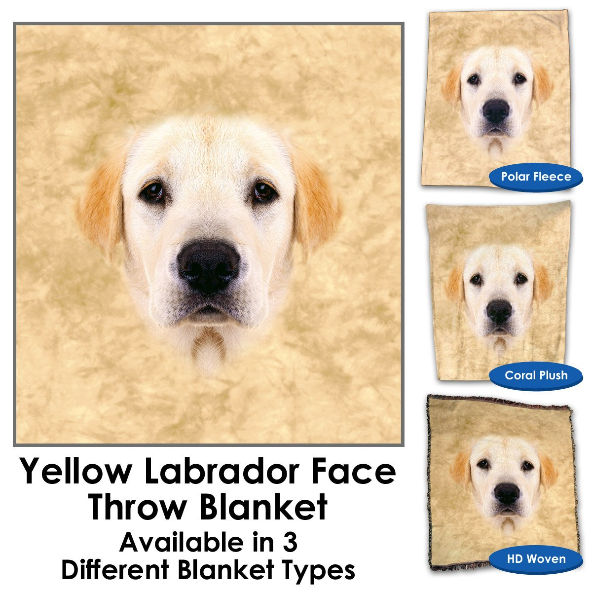 Yellow Labrador Face Throw Blanket / Tapestry Wall Hanging