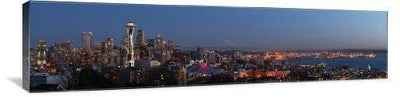 "Seattle Skyline from Queen Anne Hill 48"" x 12"" Gallery Wrapped Canvas Wall Art"