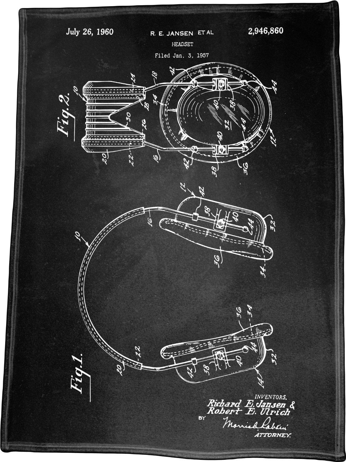 "Headset Patent Illustration by Richard E Jansen Polar Fleece Throw Blanket / Tapestry Wall Hanging 60"" x 80"""