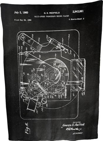 "Multi-speed Phonograph Record Player Patent Illustration by George E Redfield Coral Plush Throw Blanket / Tapestry Wall Hanging 60"" x 80"""