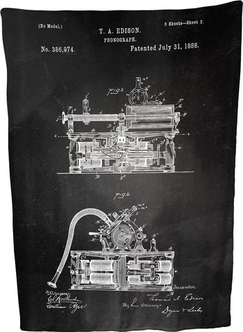 "Phonograph Patent Illustration by Thomas A. Edison Coral Plush Throw Blanket / Tapestry Wall Hanging (Phonograph) 60"" x 80"""