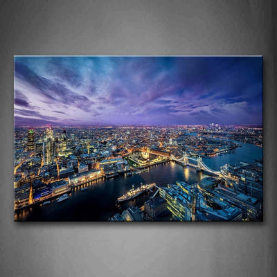 River And Crowded Buildings In London Print On Canvas