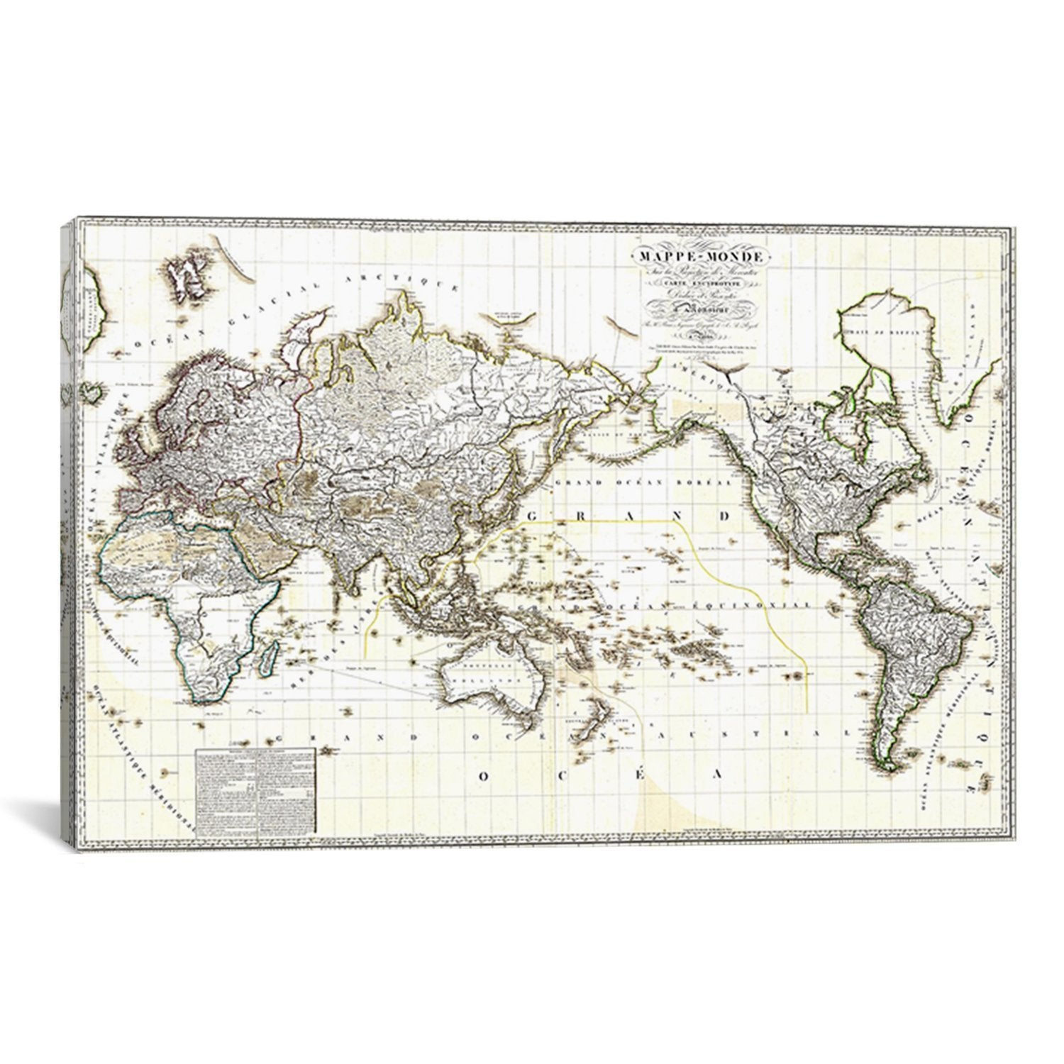 "Antique French Map of The World Canvas Art Print (18"" x 12"" x 1.5"")"
