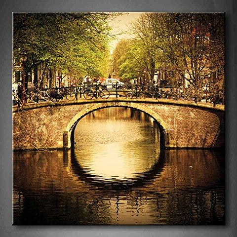 "Amsterdam, Holland Romantic Bridge - 24"" x 24"" x 1.5"" - Print On Canvas"